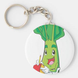 Cute Friendly Veggie Waiter Basic Round Button Keychain