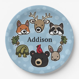 Cute Friendly Woodland Animals, Add Child's Name Paper Plate