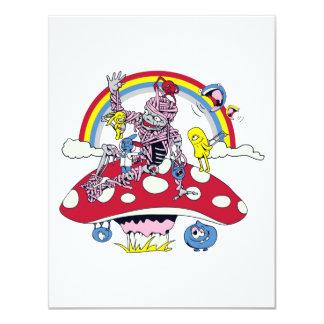 cute friendly zombie bliss vector cartoon 4.25x5.5 paper invitation card