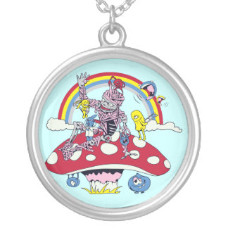 cute friendly zombie bliss vector cartoon round pendant necklace