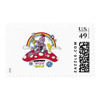 cute friendly zombie bliss vector cartoon postage stamp