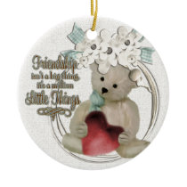 Cute friendship bear ceramic ornament