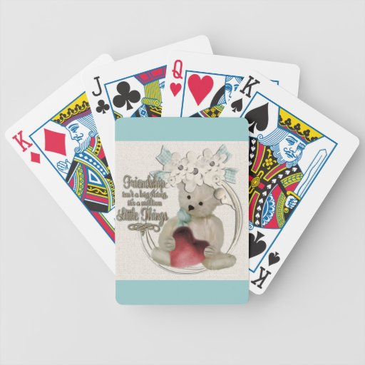 Cute friendship bear bicycle playing cards