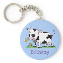 Cute friesian cow cartoon illustration keychain