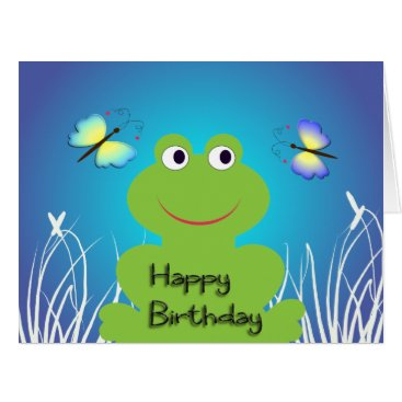 yumeus Cute frog and butterfly.Happy Birthday Card