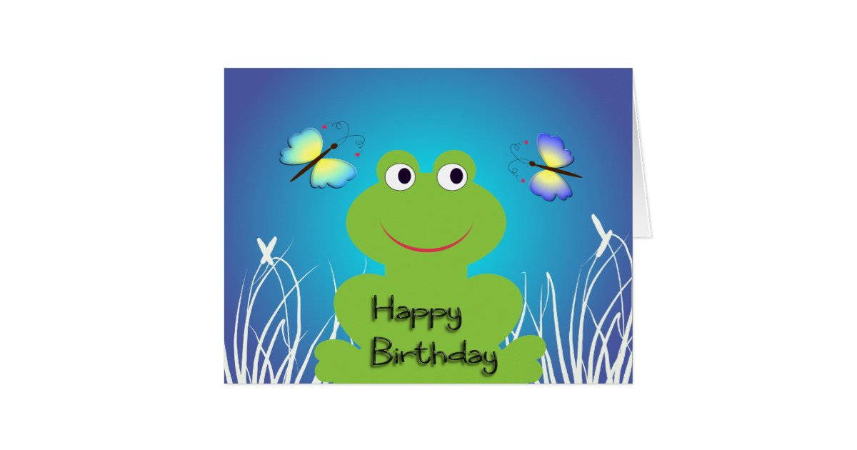 Cute frog and butterfly.Happy Birthday Card | Zazzle.com
