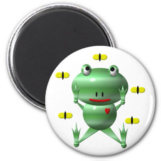 Cute frog and flies! magnet