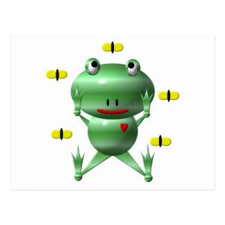 Cute frog and flies! postcard