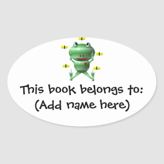 Cute frog and flies! oval sticker