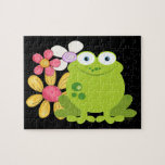 """Cute Frog and Flowers Jigsaw Puzzle<br><div class=""""desc"""">Cute fat green frog sat amongst a bunch of flowers .. colorful fun amphibian illustration of a big froggy .. from Ricaso</div>"""