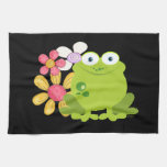 Cute Frog and Flowers Kitchen Towels
