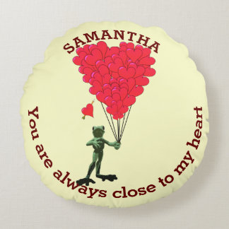 Cute frog and red romantic heart personalized round pillow
