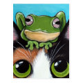 Cute Frog and Tortoiseshell Cat Postcard