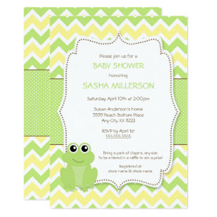 Cute Frog Baby Shower Invitation Neutral Gender