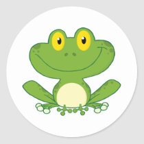 Cute Frog Cartoon Character Classic Round Sticker