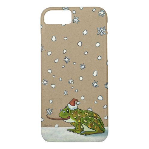 Cute Frog Catching Snowflake with Tongue iPhone 87 Case