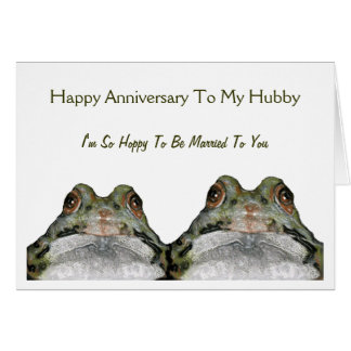 Cute Frog Couple: Hoppy Wife: Anniversary: Art Greeting Card