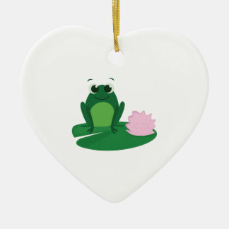 Cute Frog Double-Sided Heart Ceramic Christmas Ornament