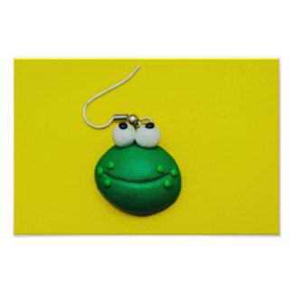 Cute frog earring macro photo print