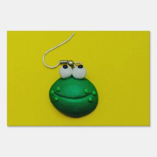 Cute frog earring macro lawn signs