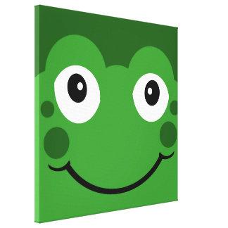Cute Frog Face Froogy Green Cartoon Pop Art Canvas Prints