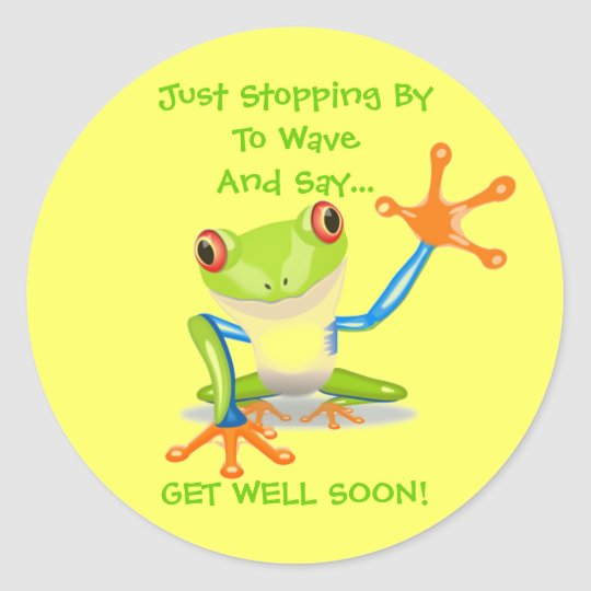 Cute Frog Funny Animal Kids Get Well Soon Classic Round Sticker