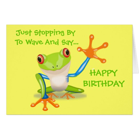 Cute Frog Funny Animal Kids Happy Birthday Card – Cute Birthday Cards for Kids