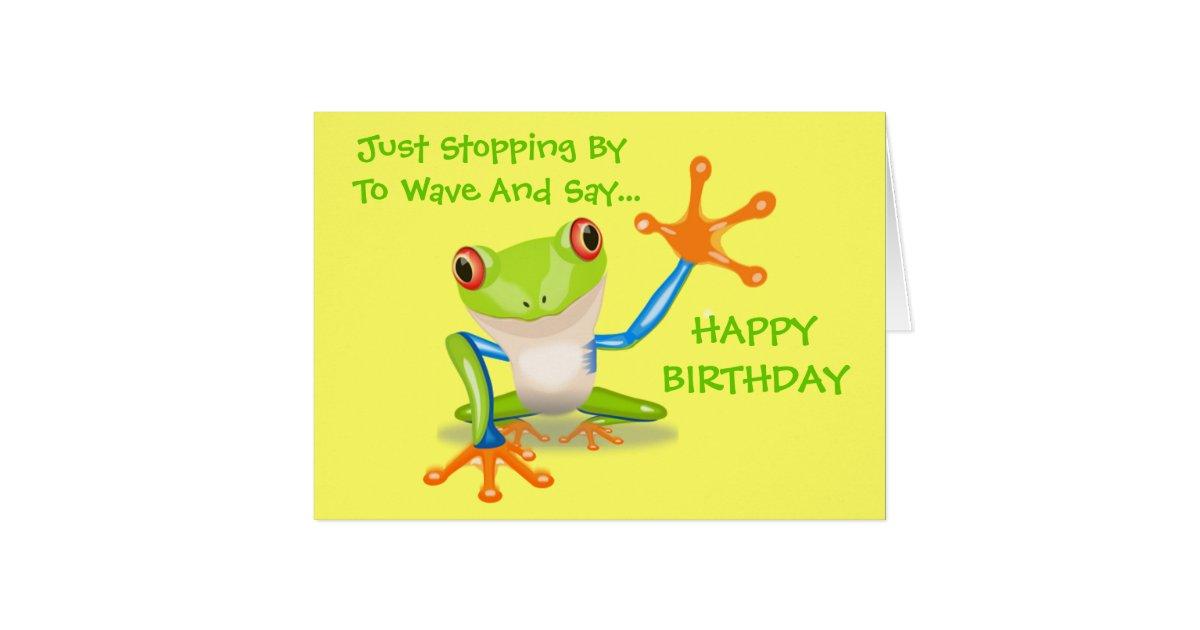 Cute Frog Funny Animal Kids Happy Birthday Card | Zazzle.com
