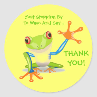 Cute Frog Funny Animal Kids Thank You Classic Round Sticker