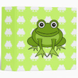 Cute Frog Green and White Binder