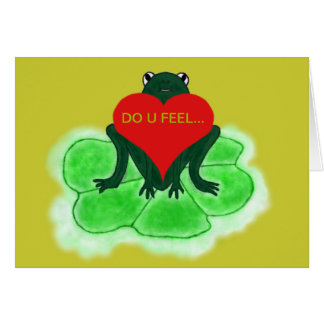 Cute Frog & Heart on Lily Pad Greeting Card