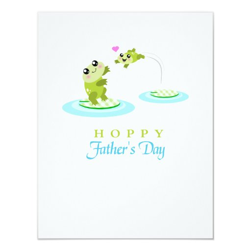 Cute Frog Hoppy Happy Father's Day 4.25x5.5 Paper Invitation Card