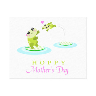 Cute Frog Hoppy Happy Mother's Day Canvas Prints