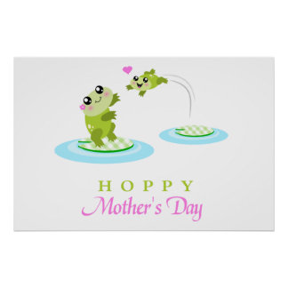 Cute Frog Hoppy Happy Mother's Day Poster