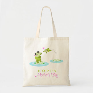 Cute Frog Hoppy Happy Mother's Day Tote Bag