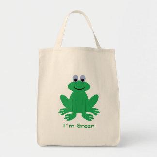 """Cute frog, """"I´m Green"""" organic tote bag"""