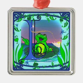 Cute Frog Initial I Premium Ornament