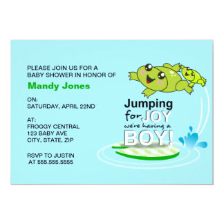 Cute frog jumping for joy Blue Boy Baby Shower Invitation