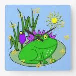 Cute Frog Kid's Square Wall Clock
