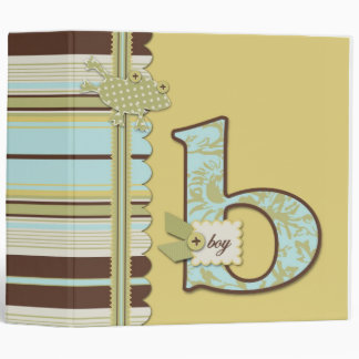 Cute Frog Leaping & B Monogram Baby Shower 3 Ring Binder