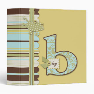 Cute Frog Leaping & B Monogram Baby Shower Binder