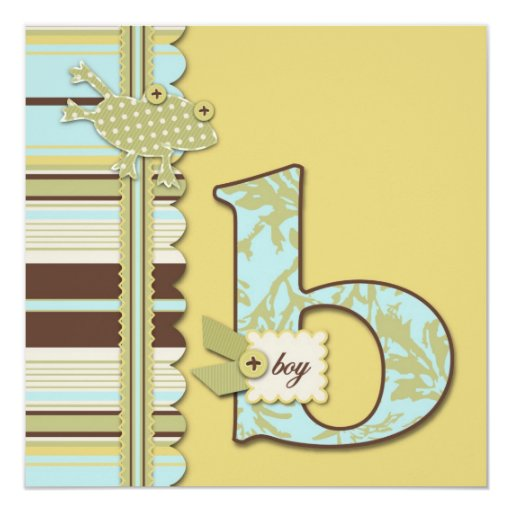 Cute Frog Leaping & B Monogram Baby Shower Card
