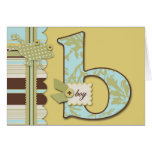 Cute Frog Leaping & B Monogram Baby Shower Greeting Card