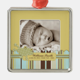Cute Frog Leaping Photo Template Metal Ornament