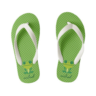 Cute Frog Lime Green And White Dotted Kid's Flip Flops