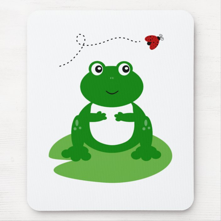 Cute Frog On Lily Pad With Ladybug Illustration Mouse Pad Zazzle Com