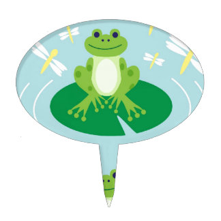 Cute Frog on Lilypad with Dragonflies Cake Topper