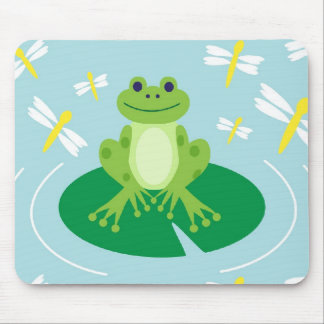 Cute Frog on Lilypad with Dragonflies Mouse Pad