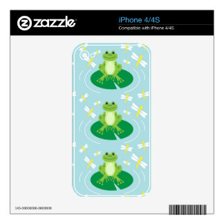Cute Frog on Lilypad with Dragonflies Decal For The iPhone 4S