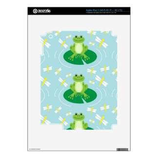 Cute Frog on Lilypad with Dragonflies Decal For iPad 3